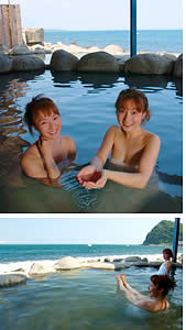 波打ち際の黒根岩風呂